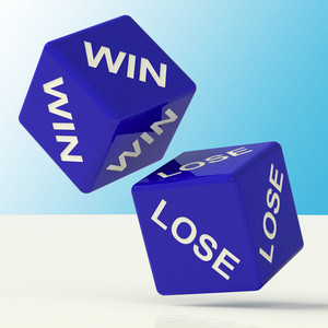 Win Lose Dice Showing The Chances Of Success