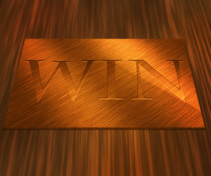 Win On Golden Plate Background