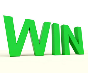 Win Word On Table Representing Success And Victory