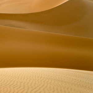Wind-patterned desert sand dunes