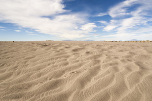 Wind-patterned sand in a vast desert