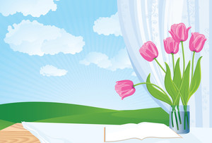 Window In Spring. Vector Background.