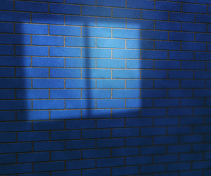 Window Light On Blue Brick Wall Studio Backdrop