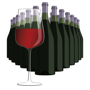 Wine Bottles And Glass Of Wine