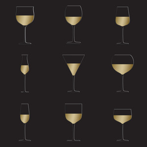Wine Glasses Black Background