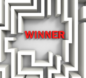 Winner In Maze Shows Puzzle Solution
