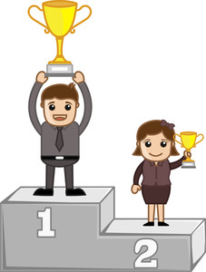 Winners On Podium - Business Office Characters Vector