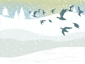 Winter Background With Birds Vector Illustration