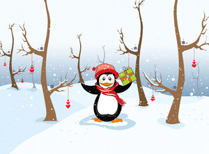 Winter Background With Penguin Vector Illustration