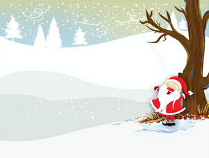 Winter Background With Santa Vector Illustration
