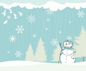 Winter Background With Snowman Vector Illustration