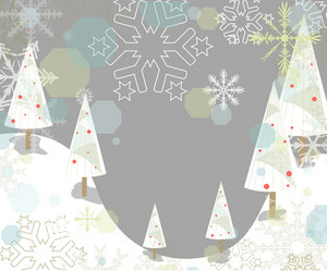 Winter Background With Trees Vector Illustration