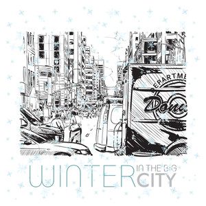 Winter In The Big City. Vector Illustration.