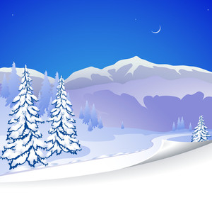 Winter Landscape. Vector.