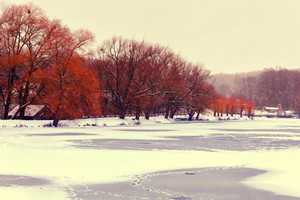 Winter landscape with first snow over lake