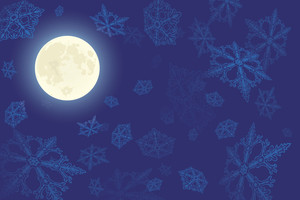 Winter Moon. Vector Background