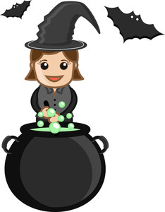 Witch Costume - Halloween - Business Cartoon Characters