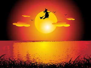 Witch Flying On Sunset Background