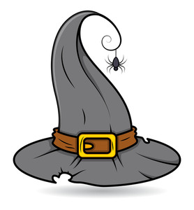 Witch Hat With A Spider Vector Illustration