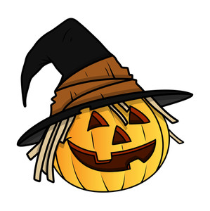 Witch Jack O' Lantern - Halloween Vector Illustration