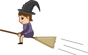 Witch On Broom - Business Cartoon Characters