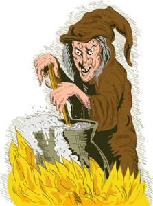 Witch Stirring Cooking Brew Pot