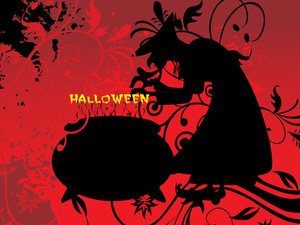 Witch Treat On Red Halloween Background