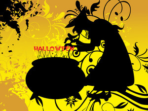 Witch Treat On Yellow Halloween Background
