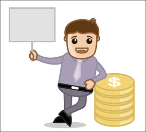 With Banner & Currency - Office And Business People Cartoon Character Vector Illustration Concept