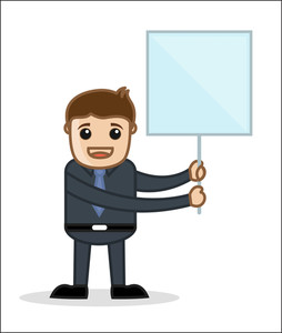 With Banner - Office And Business People Cartoon Character Vector Illustration Concept