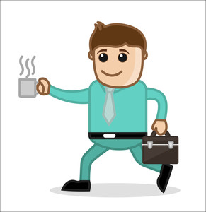 With Coffee Cup - Office And Business People Cartoon Character Vector Illustration Concept
