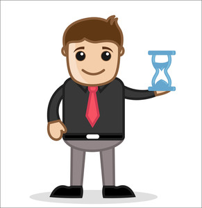With Sand Watch - Office And Business People Cartoon Character Vector Illustration Concept