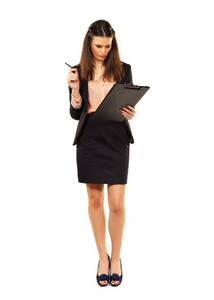Woman at work checking her checklist isolated on white