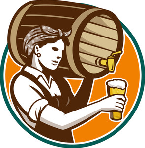 Woman Bartender Pouring Keg Barrel Beer Retro