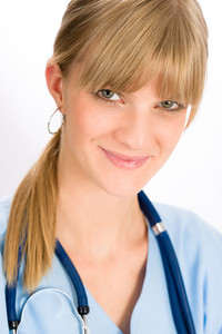 Woman doctor young medical nurse smiling blond with stethoscope