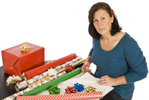 Woman Doing Christmas Gift Wrapping