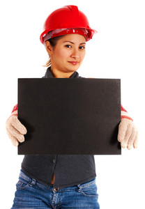 Woman Engineer Showing A Blank Board