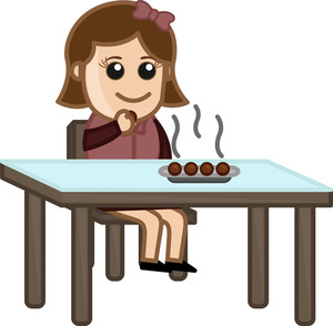 Woman Having Gulab Jamun - Cartoon Business Vector Character