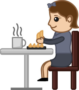 Woman Having Snacks And Coffee - Cartoon Vector