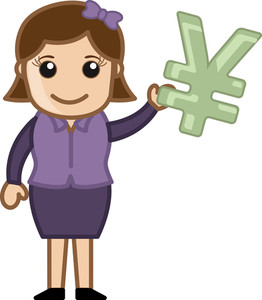 Woman Having Yen Sign - Business Cartoon Character Vector