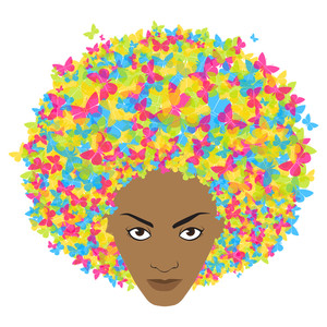 Woman Head With Butterfly. Abstract Vector Illustration.