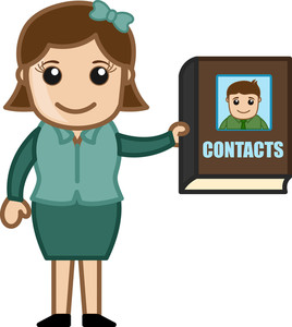 Woman Holding A Contact Directory - Business Cartoons Vectors