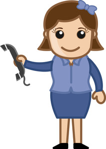Woman Holding A Phone Receiver - Business Cartoons Vectors