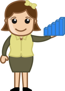 Woman Holding A Statistic Graph Bar Toy - Cartoon Bussiness Vector Illustrations