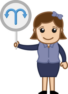 Woman Holding Arrow Turning Board Vector