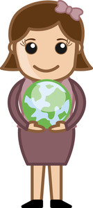 Woman Holding Earth In Both Hands - Office Character Vectors