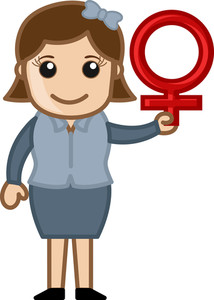 Woman Holding Female Sex Symbol - Vector Character Cartoon Illustration