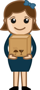 Woman Holding Fragile Box - Vector Character Cartoon Illustration