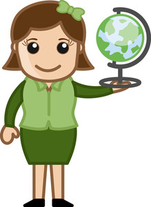 Woman Holding Globe - Office Character Vectors