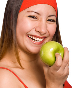 Woman Holding Nutritious Apple